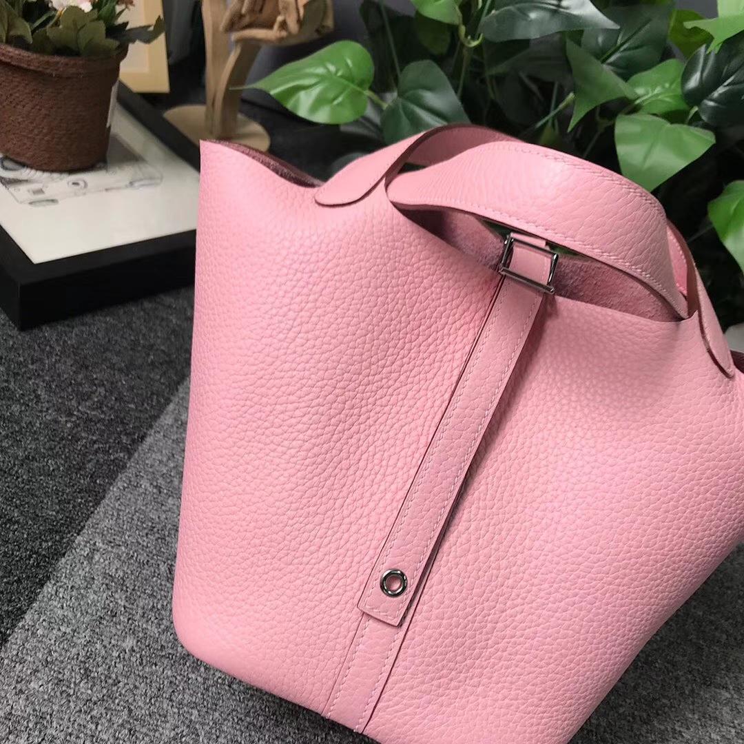 Hermès(爱马仕)3Q新樱花粉 原厂御用顶级TC 皮 Picotin  Lock 18cm 银扣
