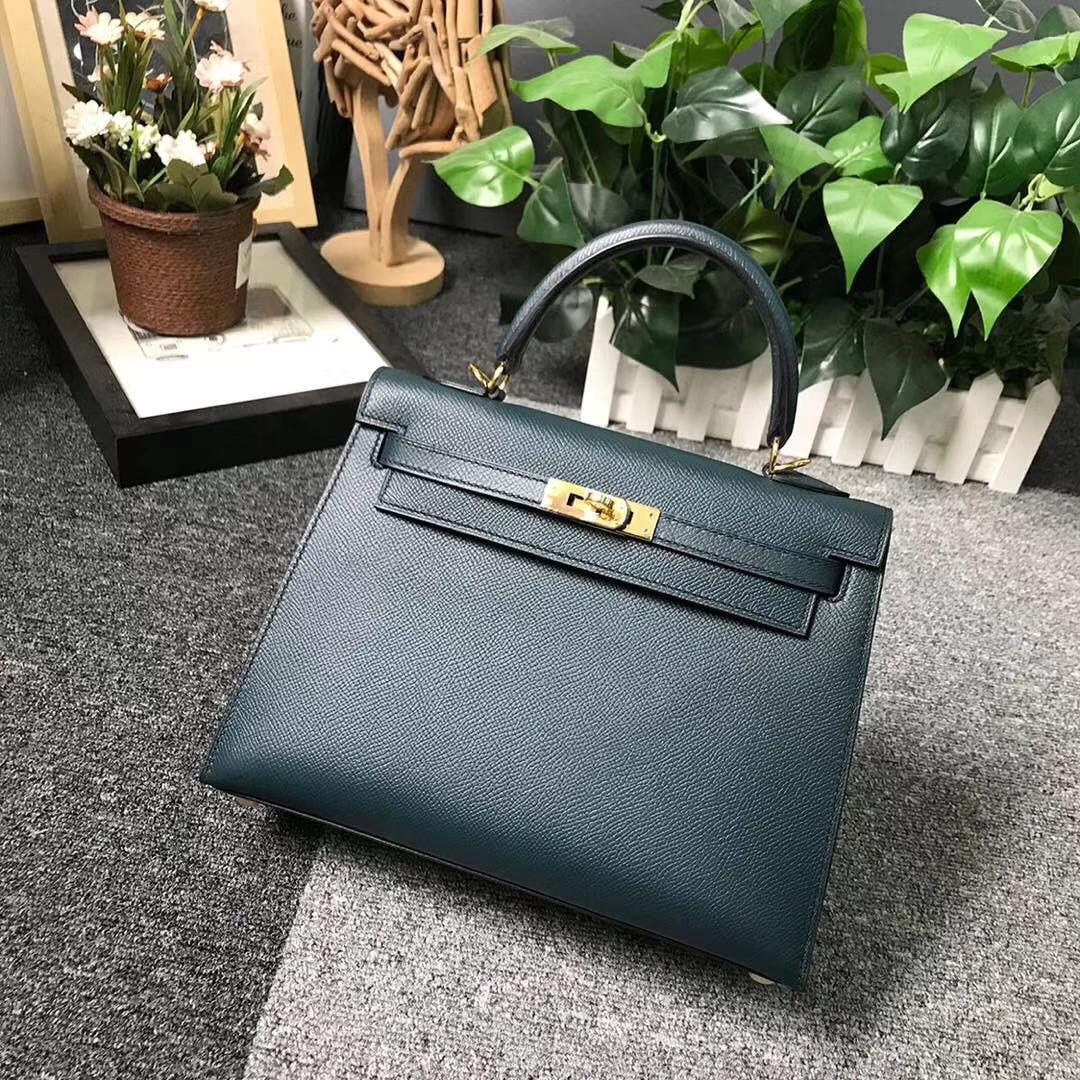 Hermès(爱马仕)6O松柏绿 原厂御用顶级Epsom 皮 Kelly 25 外缝 金扣 现货