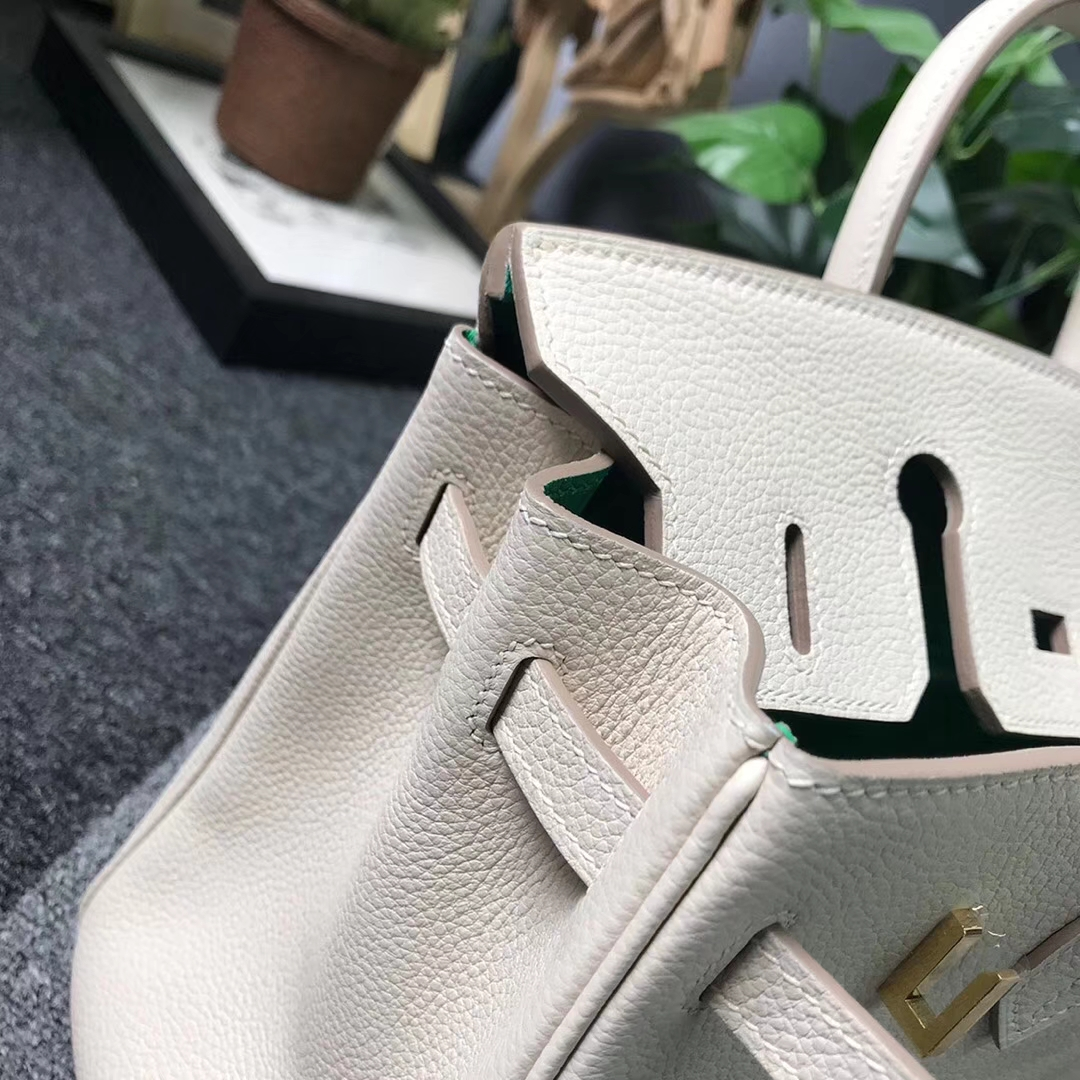 Hermès(爱马仕)奶昔白内拼U4丝绒绿 原厂御用顶级小牛皮 Birkin 25 金扣