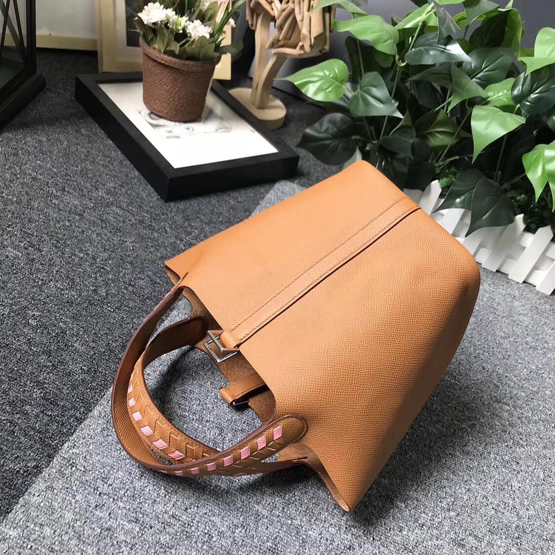 Hermès(爱马仕)C37 金棕色 编织肩带 原厂御用顶级Epsom 皮 Picotin  Lock 18cm 银扣 现货