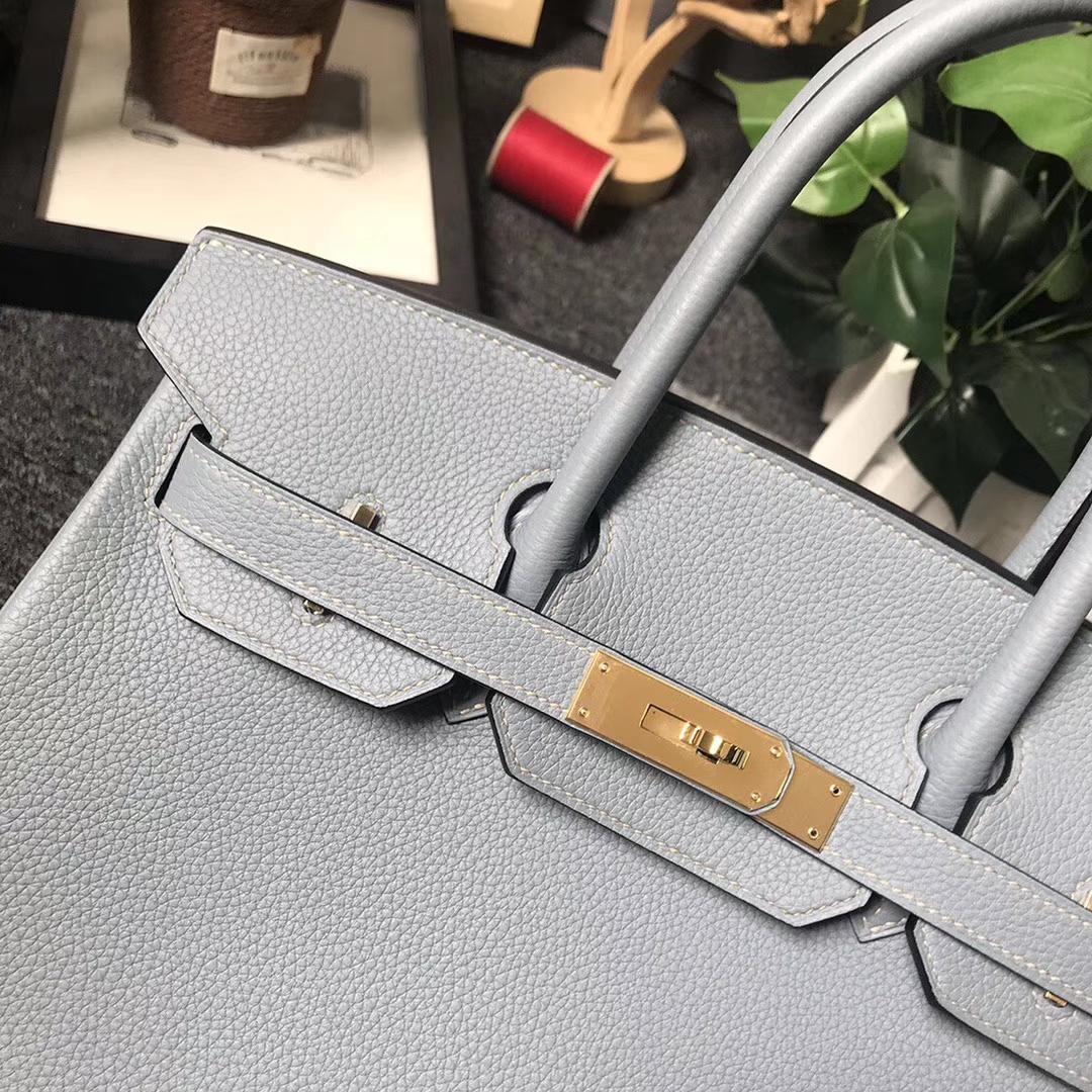 Hermès(爱马仕)J7 亚麻蓝 原厂御用顶级小牛皮 Birkin 30 金扣 现货