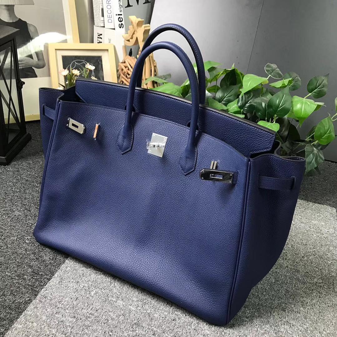 Hermès(爱马仕)7K宝石蓝 原厂御用顶级小牛皮 Birkin 40 银扣