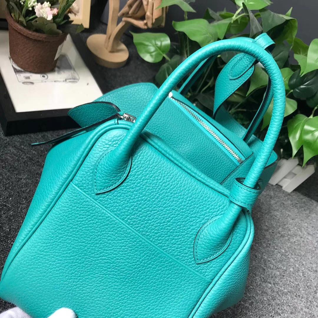 Hermès(爱马仕)7F孔雀蓝 原厂御用顶级TC 皮 Lindy 30 银扣 现货