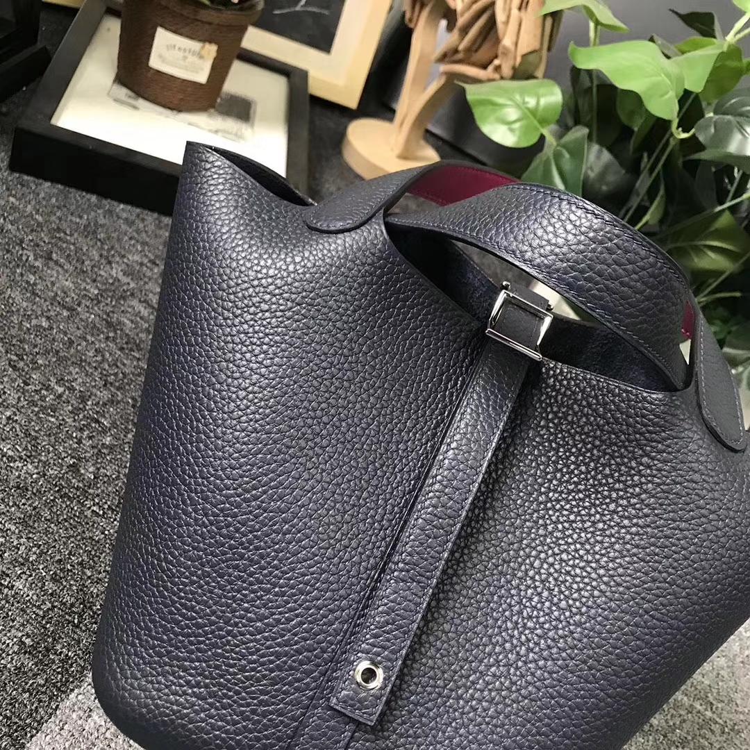 Hermès(爱马仕)午夜蓝拼玫瑰紫 原厂御用顶级TC 皮 Picotin  Lock 18cm 银扣