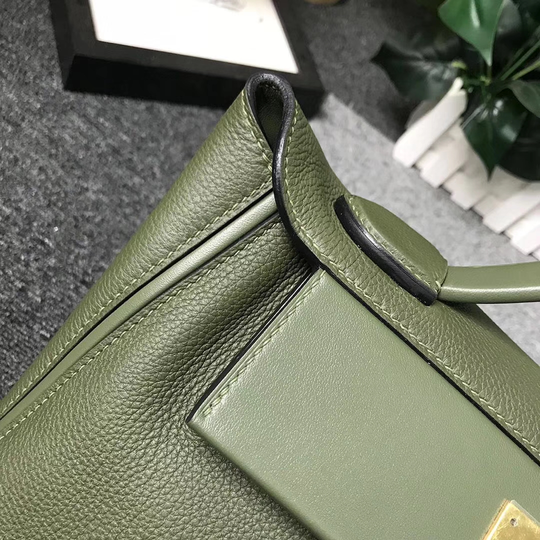 Hermès(爱马仕)V6 丛林绿 原厂御用顶级小牛皮拼Swift 皮 2424 金扣