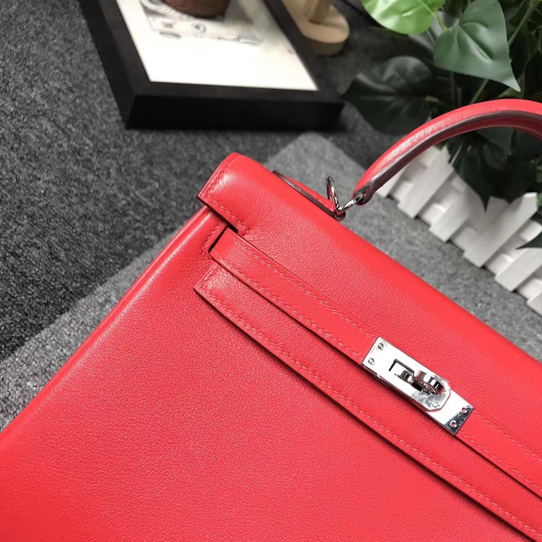 Hermès(爱马仕)S5 番茄红 原厂御用顶级Swift 皮 Kelly 25 内缝 银扣 现货
