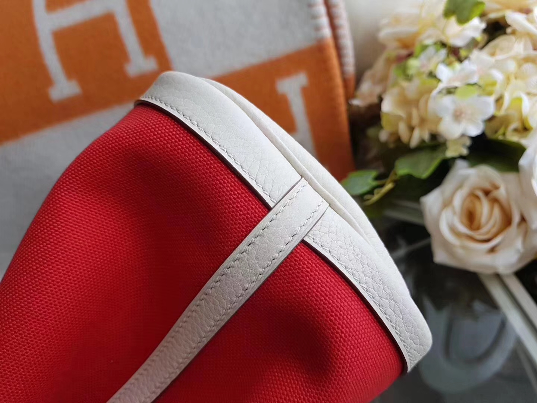 Hermès(爱马仕)Garden Party花园包 帆布拼牛皮 s5番茄红拼奶昔白 30Cm