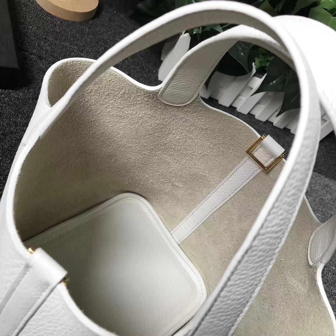 Hermès(爱马仕)Picotin Lock 奶昔白 原厂御用顶级TC 皮 银扣 22cm 现货