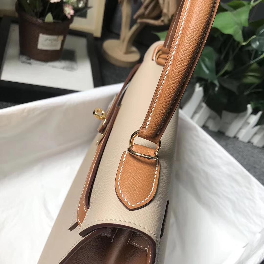Hermès(爱马仕)S2 风衣灰拼金棕色 原厂御用顶级Epsom 皮 Kelly 25 外缝 金扣