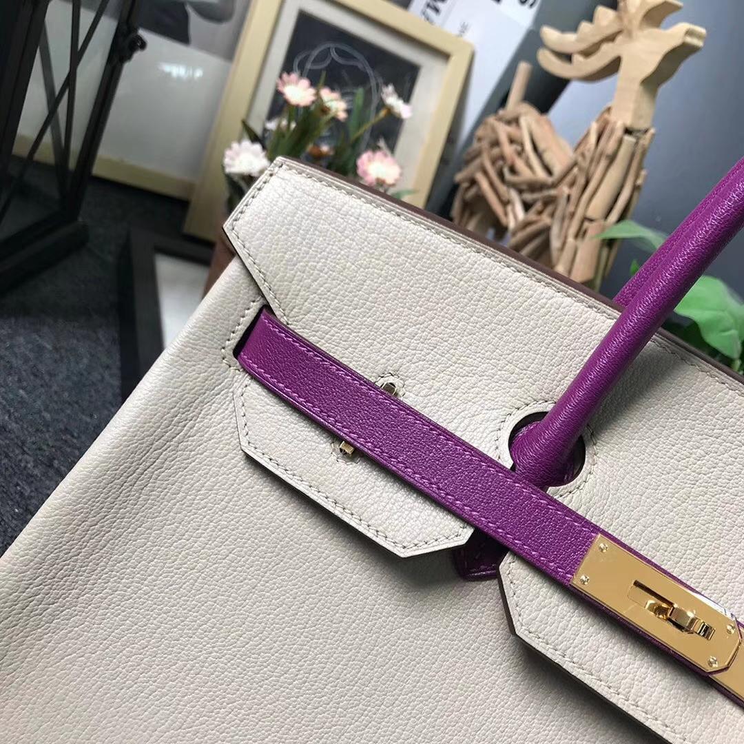 Hermès(爱马仕)风衣灰拼海葵紫 原厂御用顶级山羊皮 Birkin 35 金扣 现货