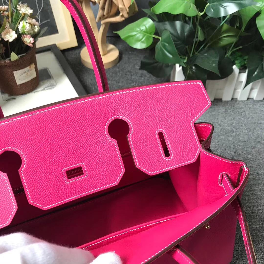 Hermès(爱马仕)E5 糖果粉 原厂御用顶级Epsom 皮 Birkin 30 金扣