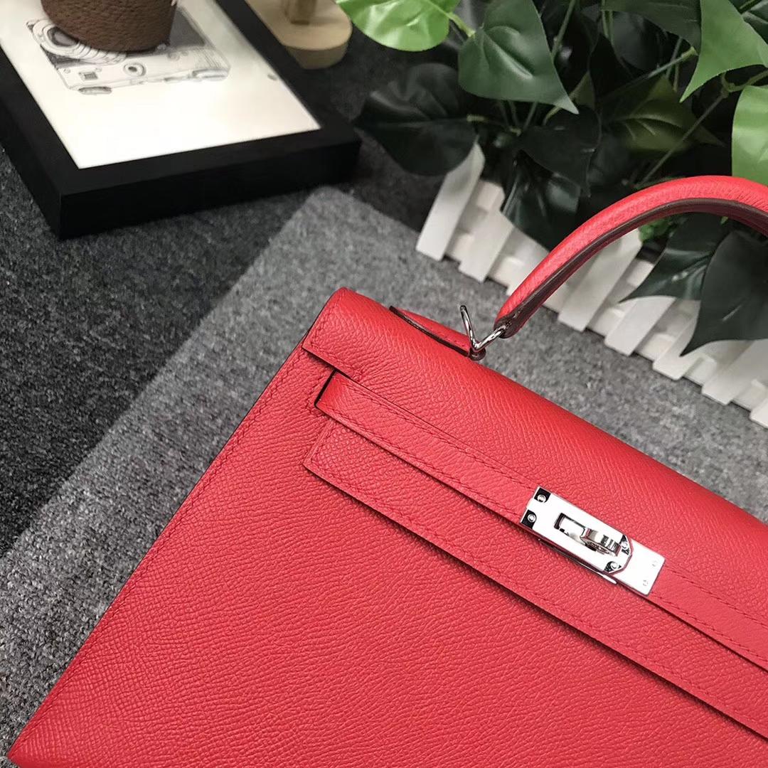 Hermès(爱马仕)Q5 中国红 糖果红 原厂御用顶级Epsom 皮 Kelly 25 外缝 银扣