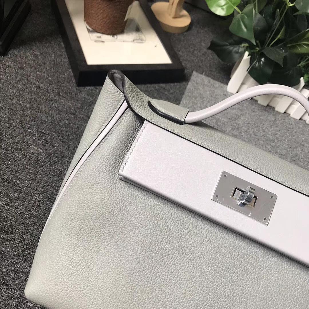 Hermès(爱马仕)4Z海鸥灰 原厂御用顶级小牛皮拼Swift 皮 2424 银扣 现货