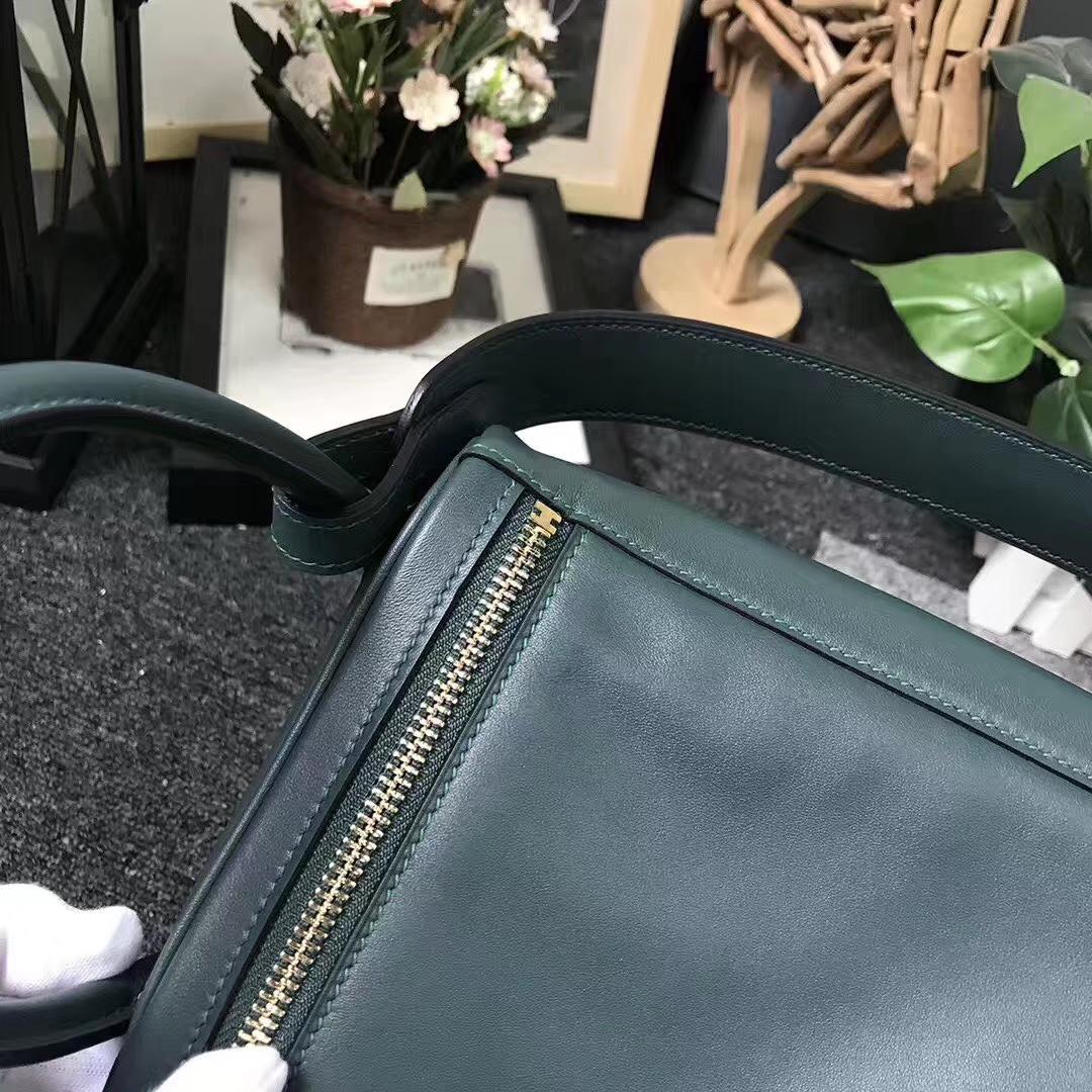 Hermès(爱马仕)2Q英国绿 编织肩带 原厂御用顶级Swift 皮 Lindy 26 金扣