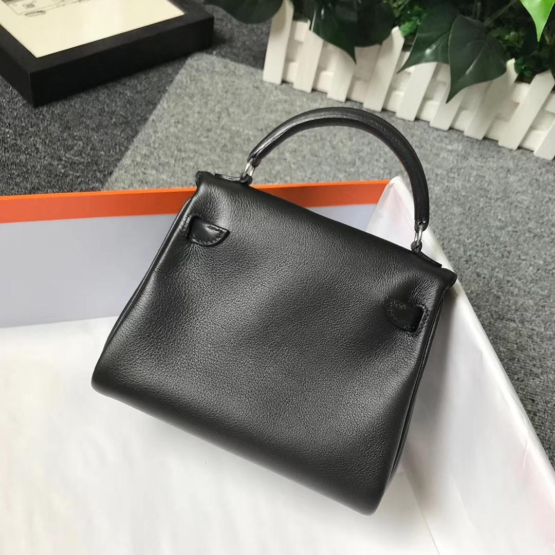 Hermès(爱马仕)CK89 黑色拼咖啡 原厂御用顶级Swift 皮 Kelly Doll 银扣