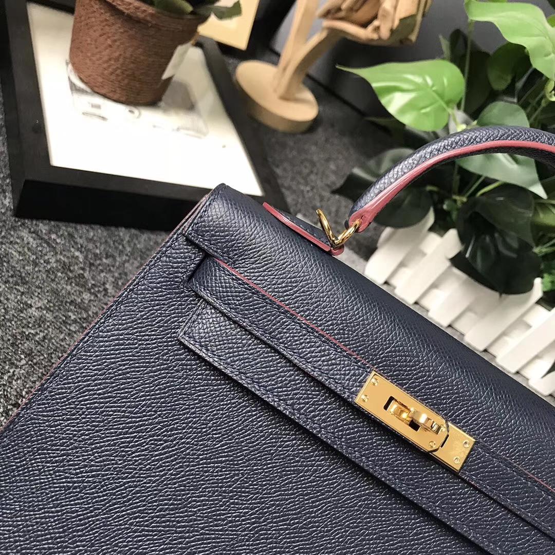Hermès(爱马仕)午夜蓝 原厂御用顶级Epsom 皮 Kelly 25 外缝 金扣