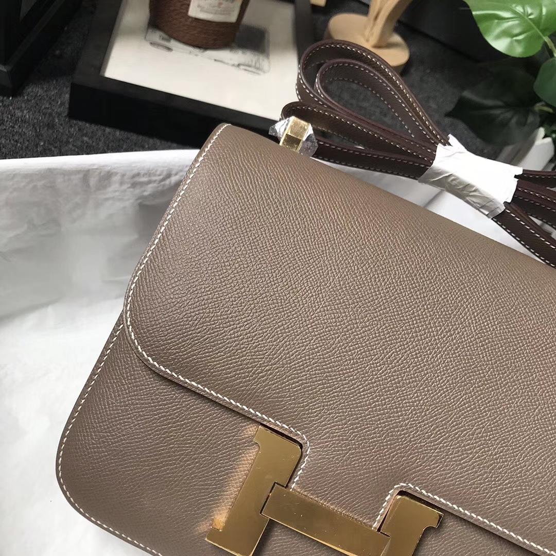 Hermès(爱马仕)CK18 大象灰 原厂御用顶级Epsom 皮 Constance 24 金扣 现货