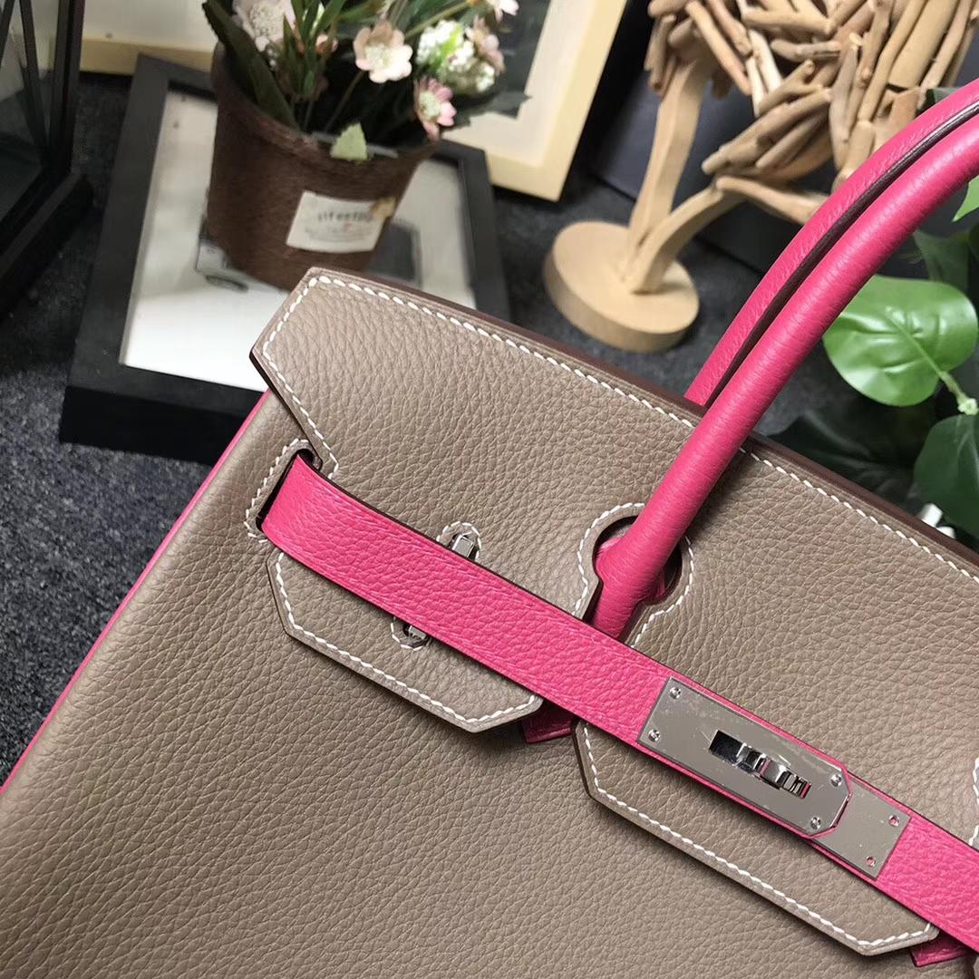Hermès(爱马仕)CK18 大象灰拼桃红 原厂御用顶级小牛皮 Birkin 30 银扣