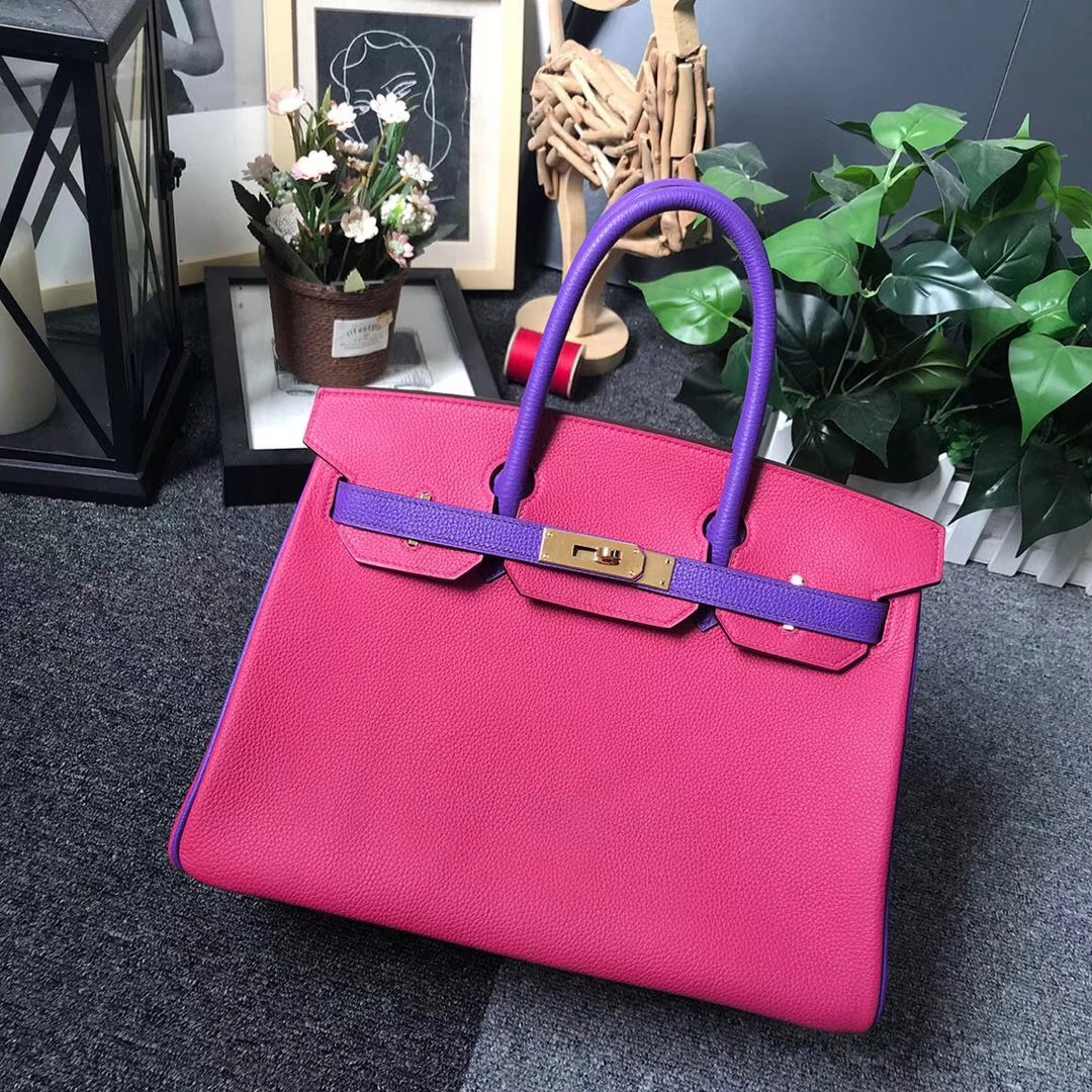 Hermès(爱马仕)5R桃红色拼新梦幻紫 原厂御用顶级小牛皮 Birkin 30 金扣