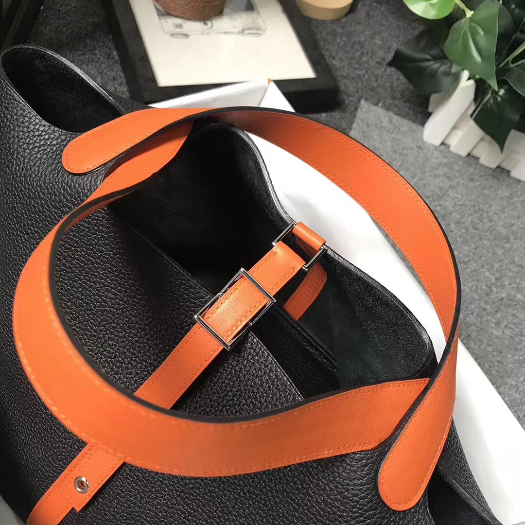Hermès(爱马仕)CK89 黑色拼橙色 原厂御用顶级TC 皮 Picotin  Lock 22cm 银扣