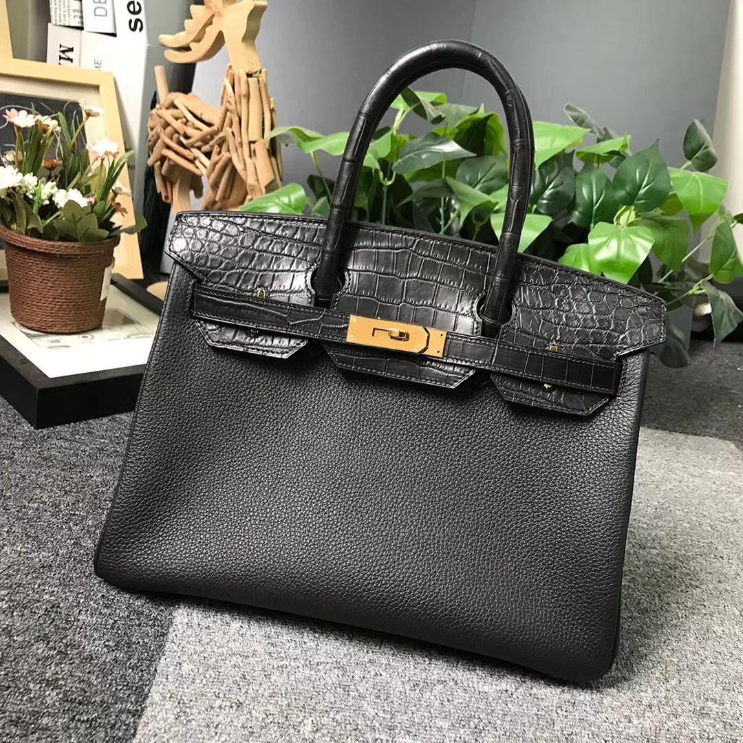 Hermès(爱马仕)CK89 黑色 原厂御用顶级小牛皮拼鳄鱼皮 Birkin 30 金扣