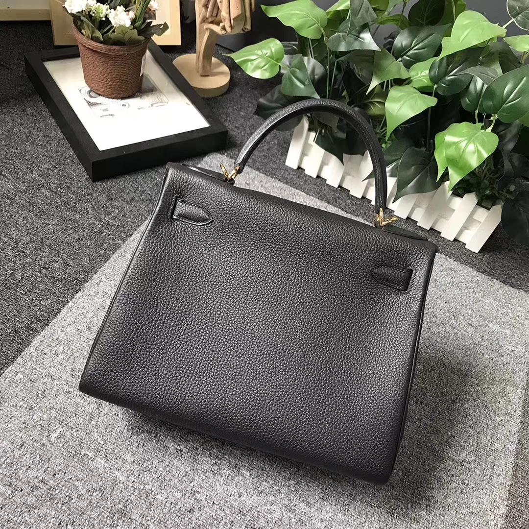 Hermès(爱马仕)Kelly 凯莉包 CK89 黑色 原厂御用顶级togo小牛皮 金扣 28cm 现货