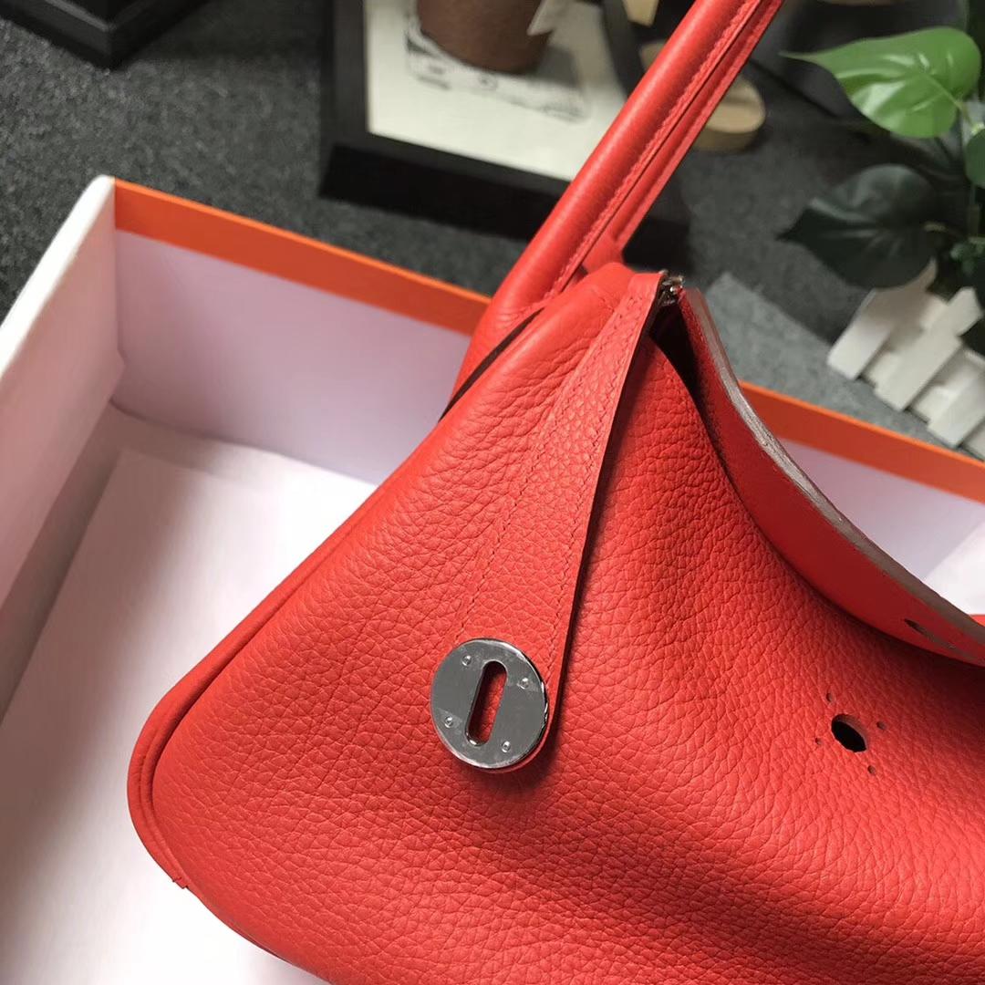 Hermès(爱马仕)罂粟橘色 原厂御用顶级小牛皮 Lindy 26 银扣