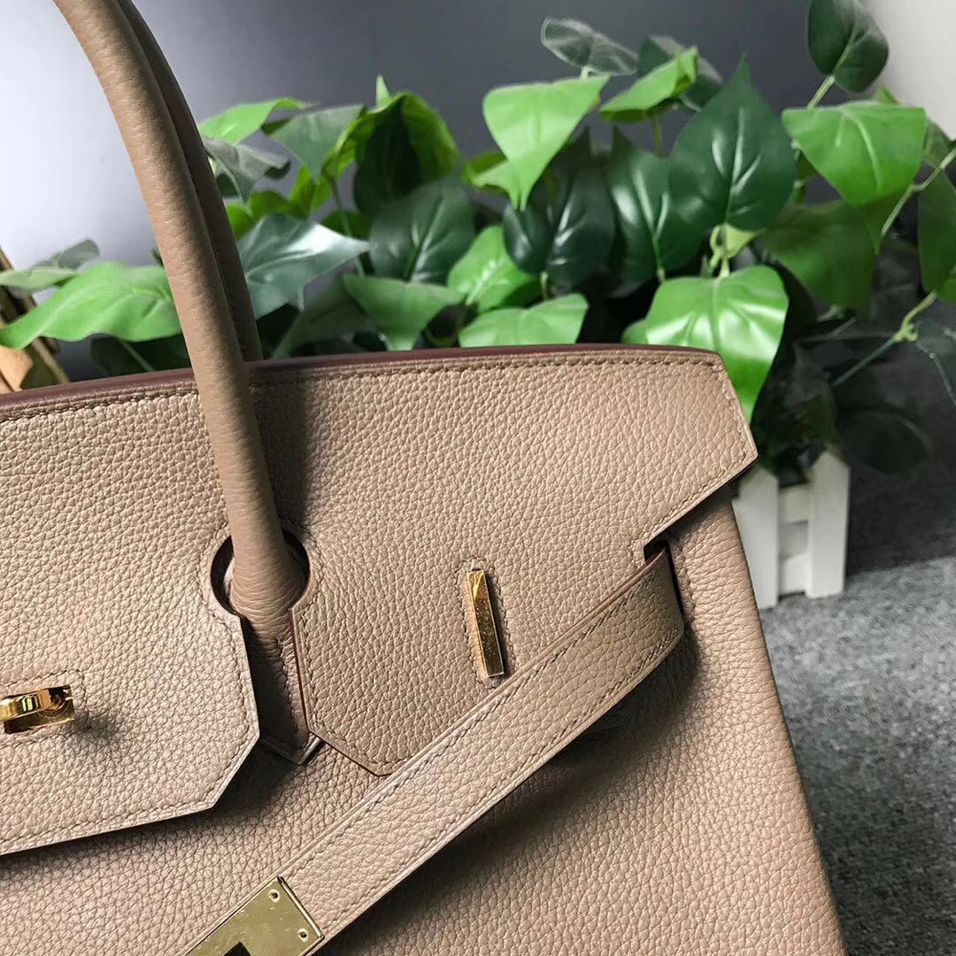 Hermès(爱马仕)CK18 大象灰 本色线 原厂御用顶级小牛皮 Birkin 35 金扣