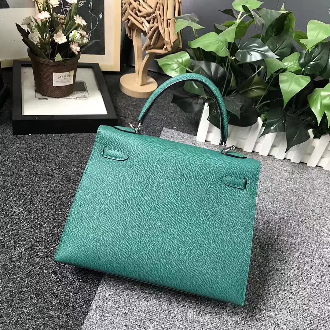 Hermès(爱马仕)Z6 孔雀绿 原厂御用顶级Epsom 皮 Kelly 25 外缝 银扣
