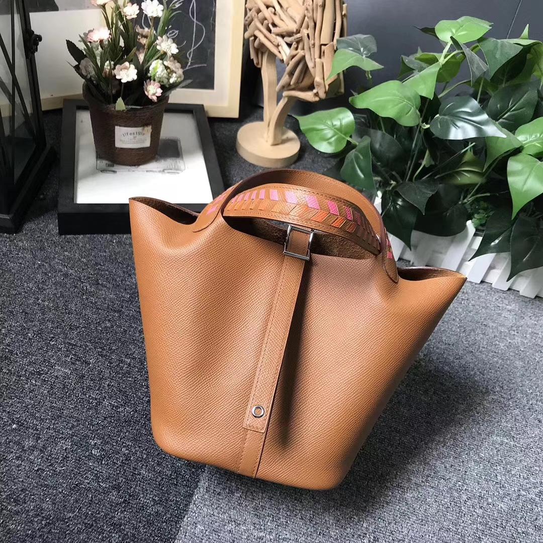 Hermès(爱马仕)C37 金棕色 粉橙编织手腕 原厂御用顶级Epsom 皮 Picotin  Lock 18cm 银扣