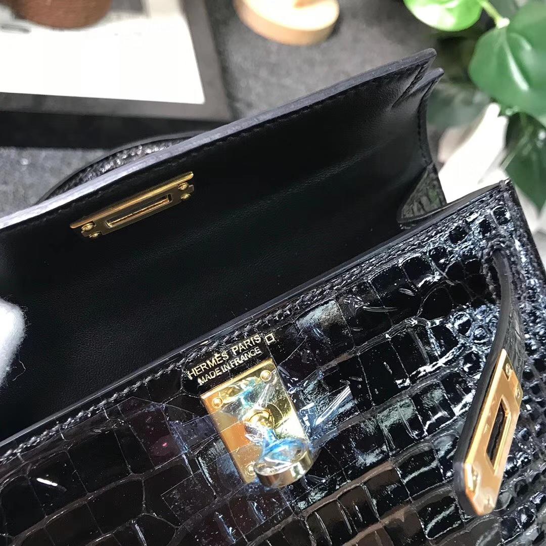 Hermès(爱马仕)黑色 原厂御用顶级鳄鱼皮 Mini Kelly 二代 金扣