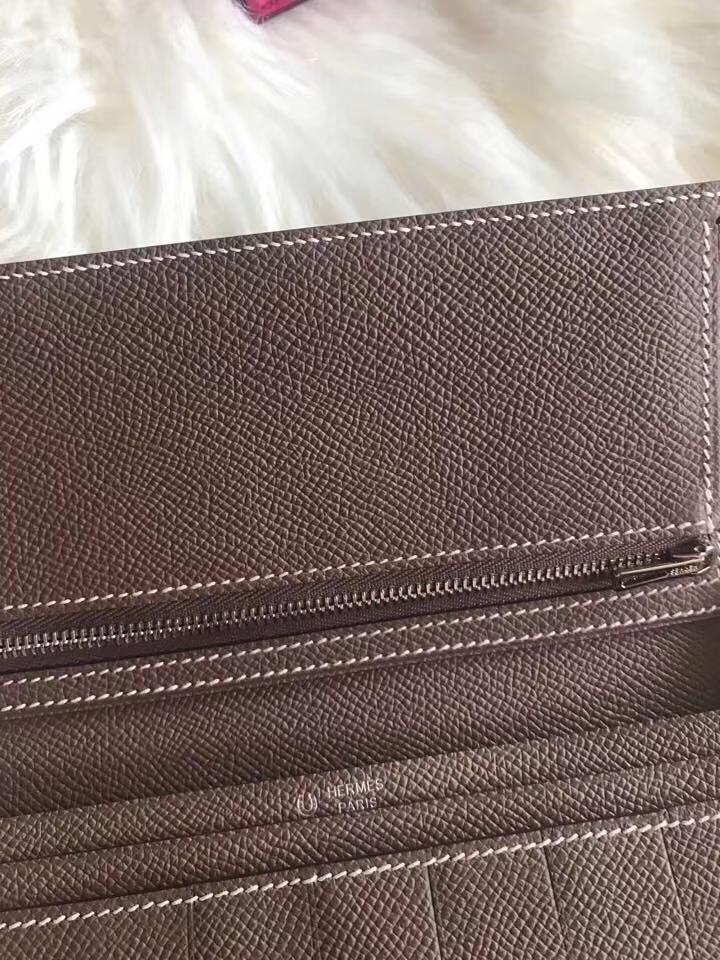 Hermès(爱马仕)bearn长款 原装等级进口epsom皮 孔雀蓝拼大象灰