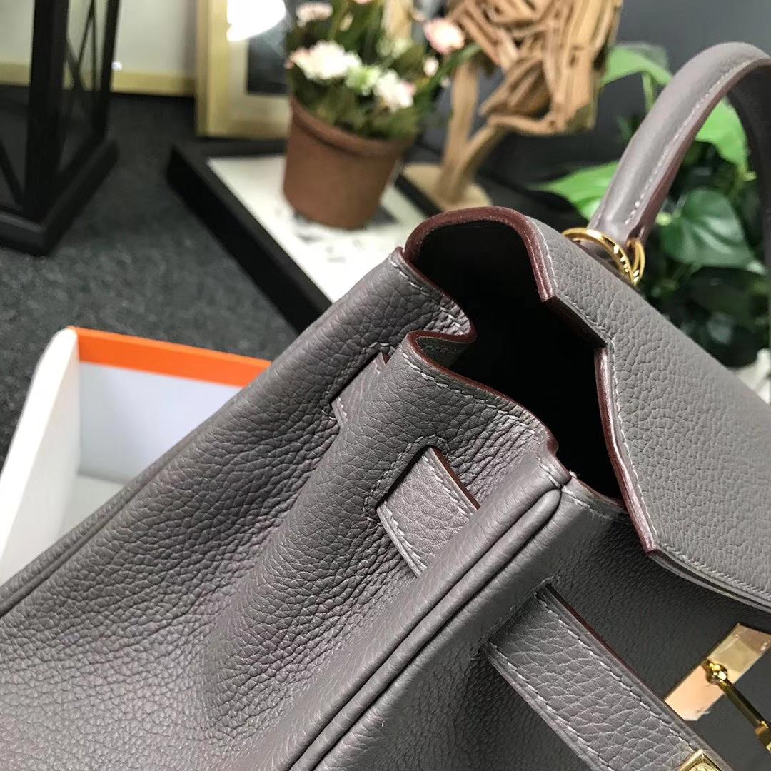 Hermès(爱马仕)8F锡器灰 原厂御用顶级小牛皮 Kelly 28 金扣 现货