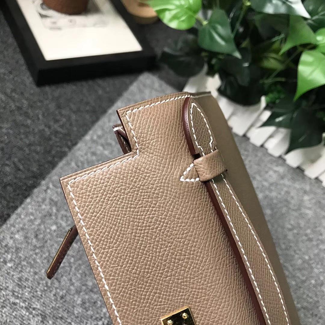 Hermès(爱马仕)CK18 大象灰 原厂御用顶级Epsom 皮 Mini Kelly 金扣 现货