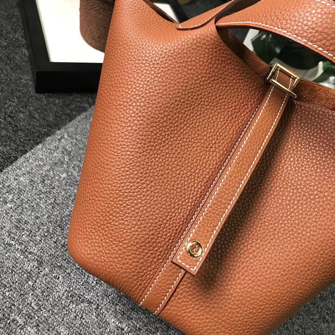 Hermès(爱马仕)金棕色 原厂御用顶级TC 皮 Picotin  Lock 18cm 金扣 现货