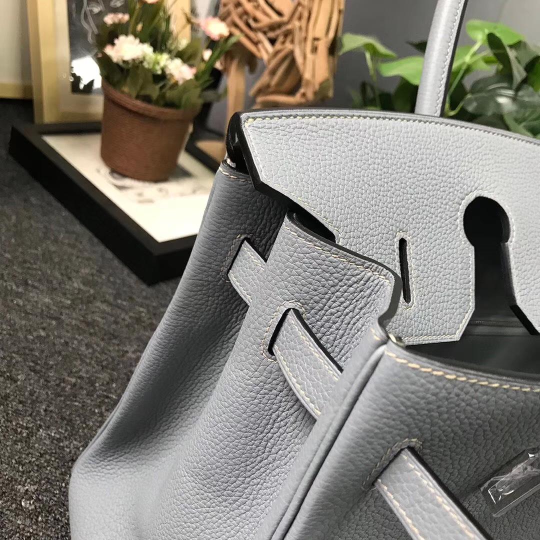 Hermès(爱马仕)J7 亚麻蓝 原厂御用顶级小牛皮 Birkin 35 银扣 现货