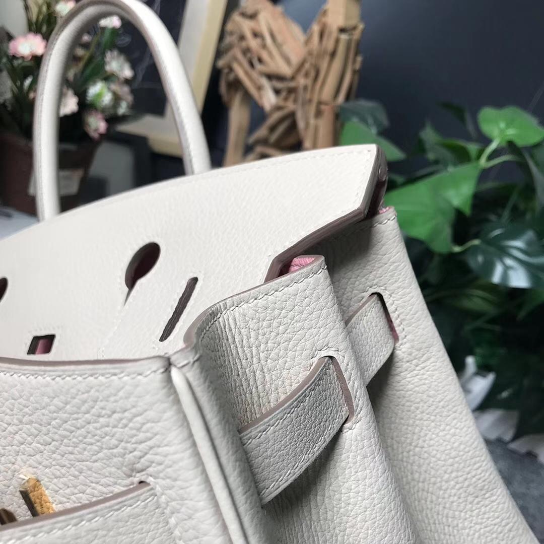 Hermès(爱马仕)奶昔白内拼3Q新樱花粉 原厂御用顶级小牛皮 Birkin 30 金扣