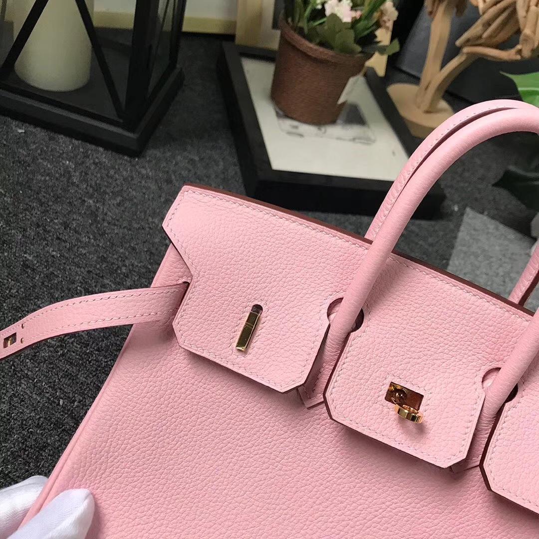 Hermès(爱马仕)3Q新樱花粉 原厂御用顶级小牛皮 Birkin 25 金扣 现货