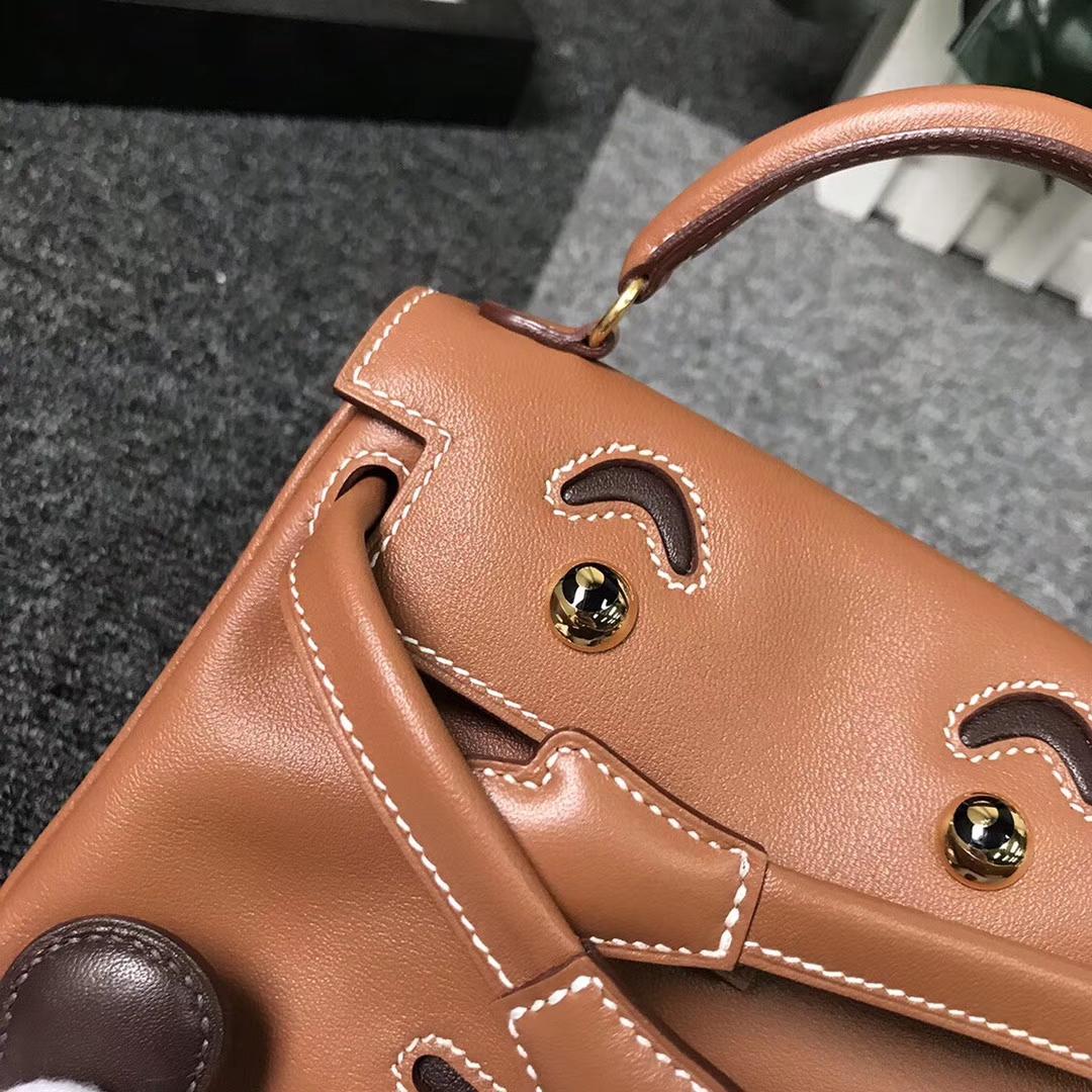 Hermès(爱马仕)金棕拼咖啡 原厂御用顶级Swift 皮 Kelly doll  金扣 现货