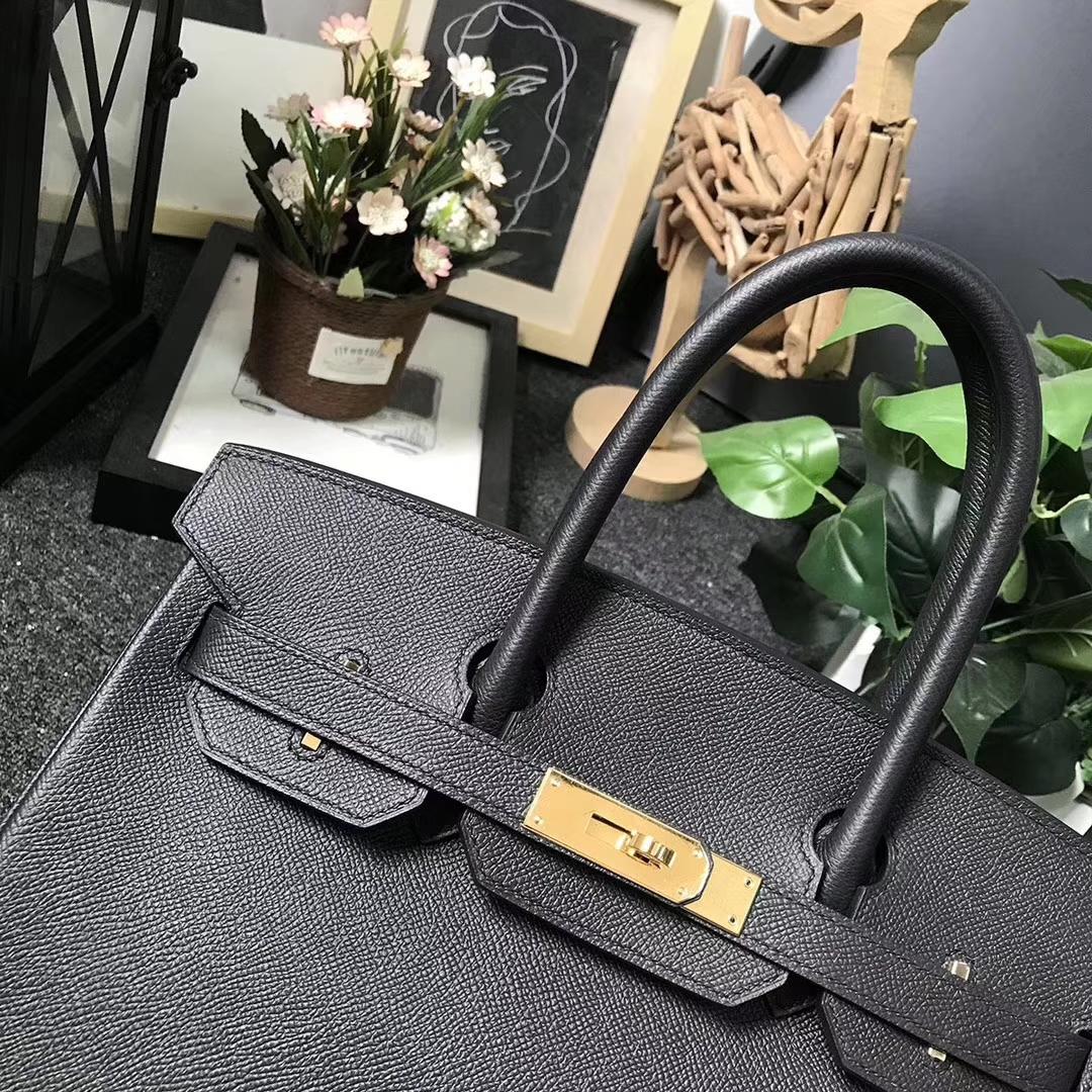 Hermès(爱马仕)Birkin 铂金包 CK89 黑色 原厂御用顶级Epsom皮 金扣 30cm 现货