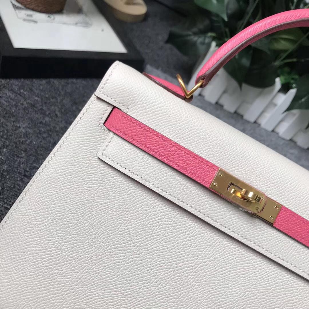 Hermès(爱马仕)奶昔白拼8W新唇膏粉 原厂御用顶级Epsom 皮 Kelly 25 外缝 拉丝金扣