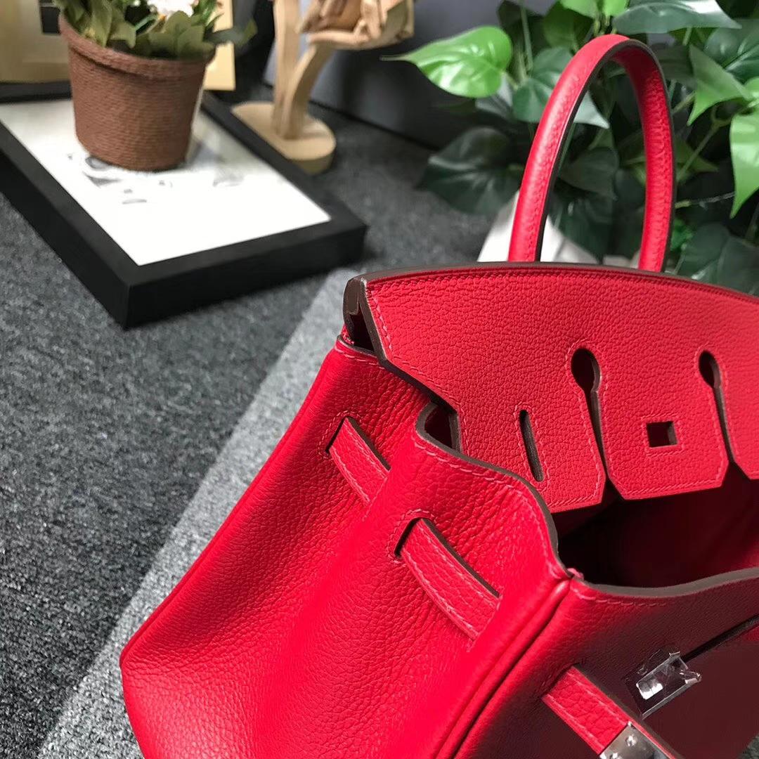 Hermès(爱马仕)Q5 中国红 糖果红 原厂御用顶级小牛皮 Birkin 25 银扣 现货