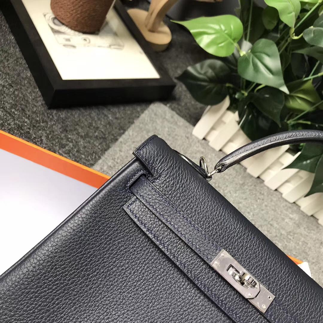 Hermès(爱马仕)午夜蓝 星空蓝 原厂御用顶级小牛皮 Kelly 25 银扣