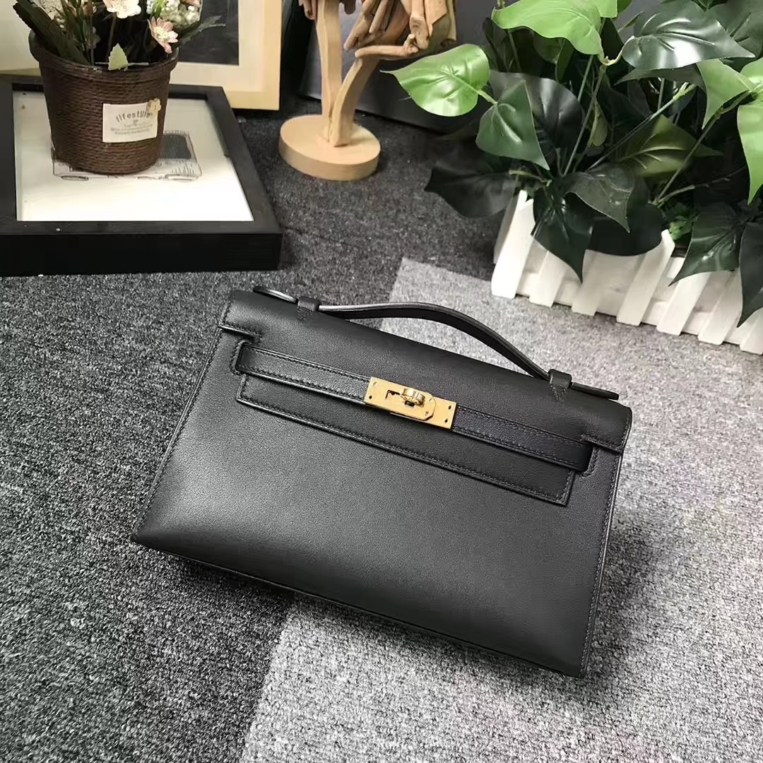 Hermès(爱马仕)CK89 黑色 原厂御用顶级swift皮 Mini Kelly 银扣 现货