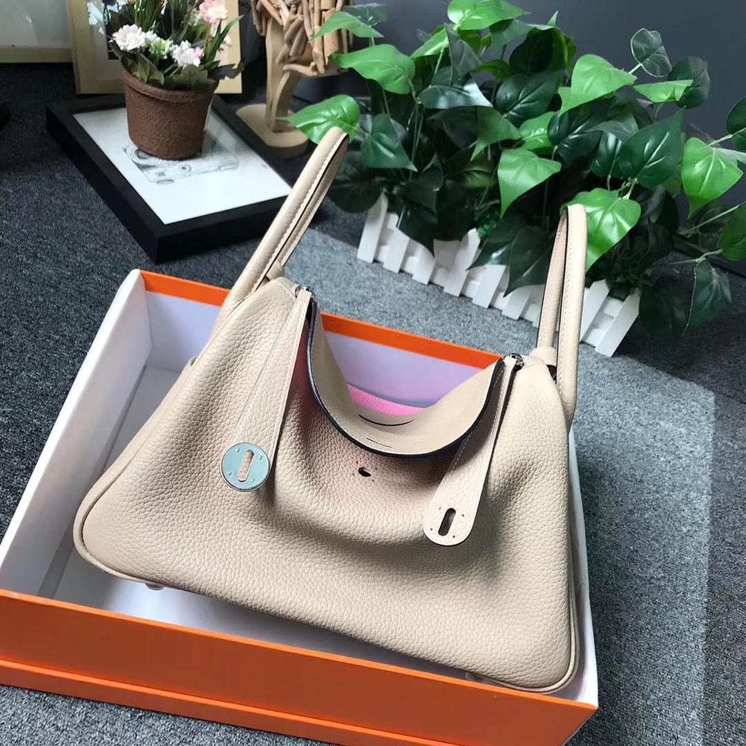 Hermès(爱马仕)CK81斑鸠灰拼5P樱花粉 原厂御用顶级TC 皮 Lindy 30