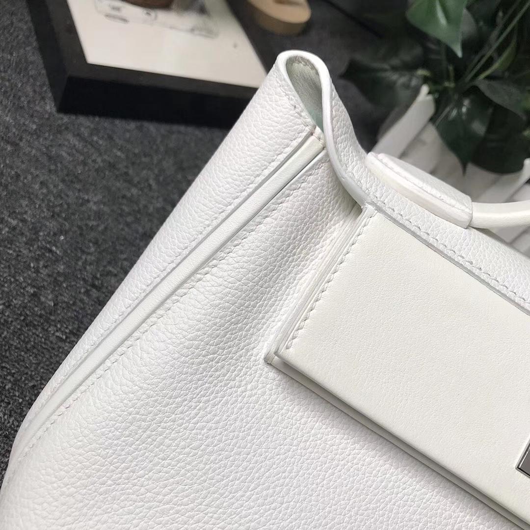 Hermès(爱马仕)纯白色 原厂御用顶级小牛皮拼Swift 皮 2424 银扣