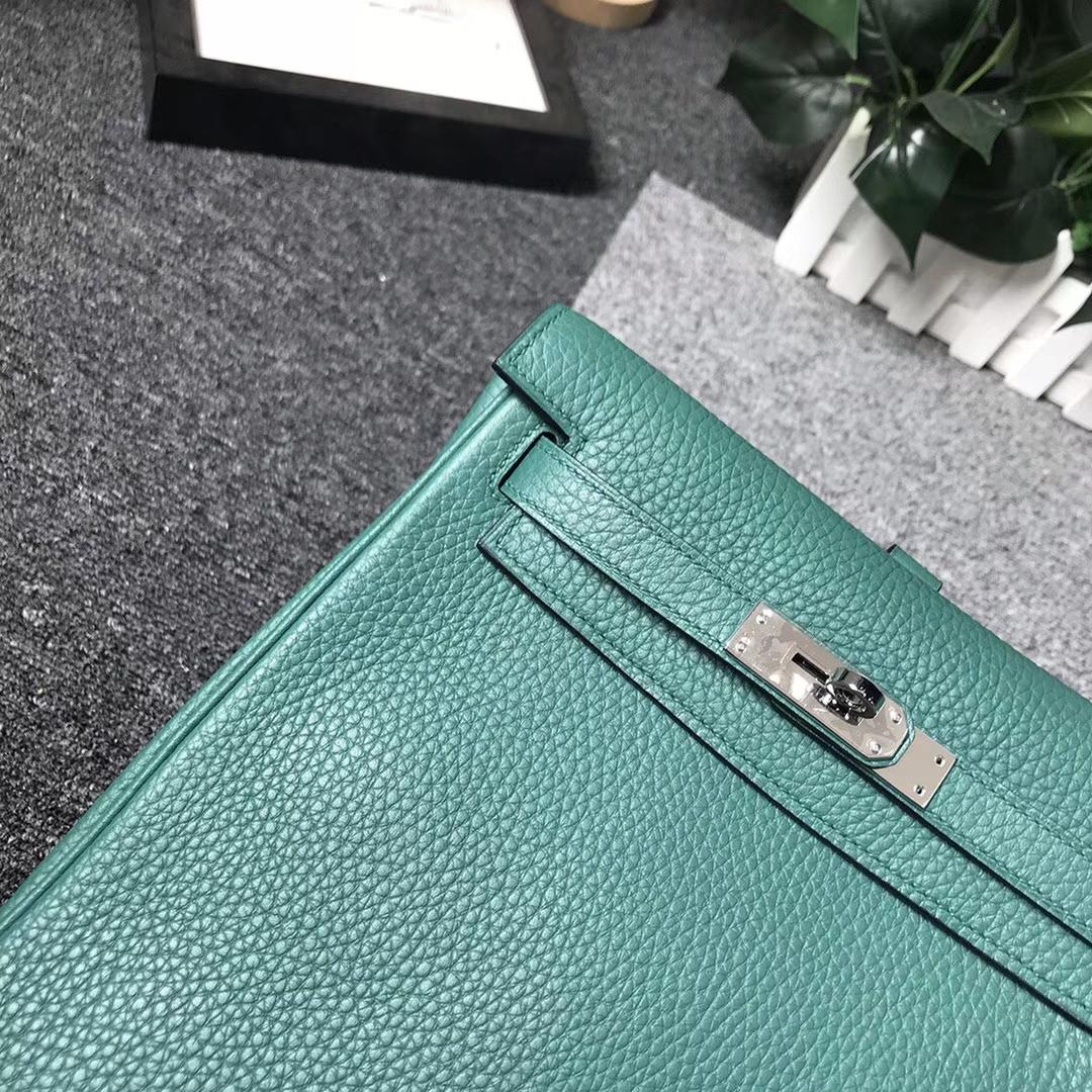 Hermès(爱马仕)Z6 孔雀绿 原厂御用顶级TC 皮 Kelly ado 银扣 现货