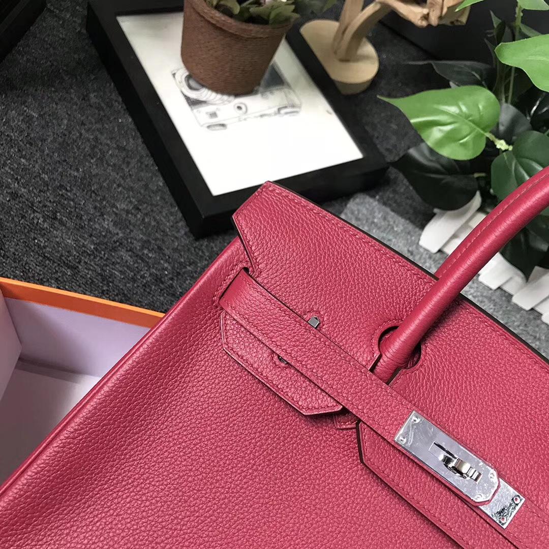 Hermès(爱马仕)K1 石榴红 原厂御用顶级小牛皮 Birkin 30 银扣 现货