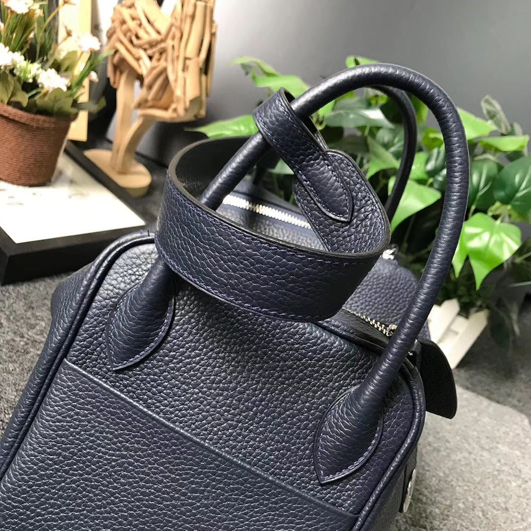 Hermès(爱马仕)午夜蓝 原厂御用顶级TC 皮 Lindy 30 银扣