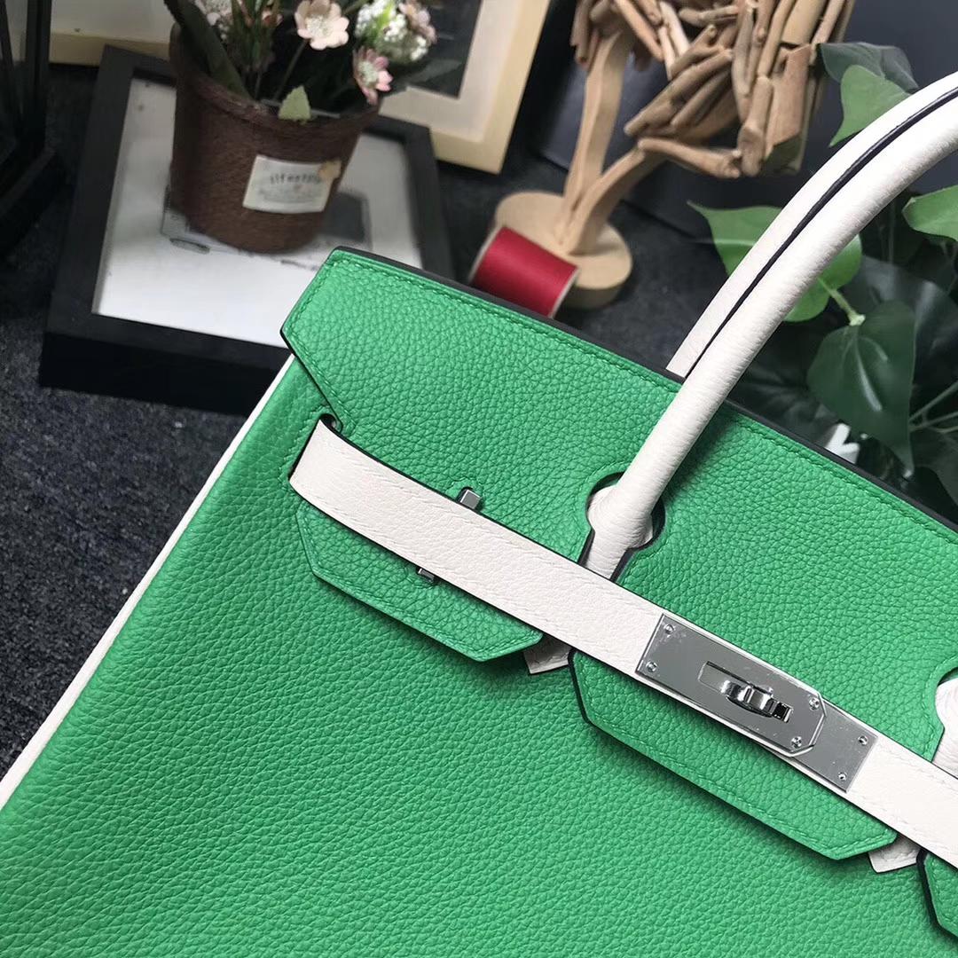 Hermès(爱马仕)1K竹子绿拼奶昔白 原厂御用顶级小牛皮 Birkin 30 银扣